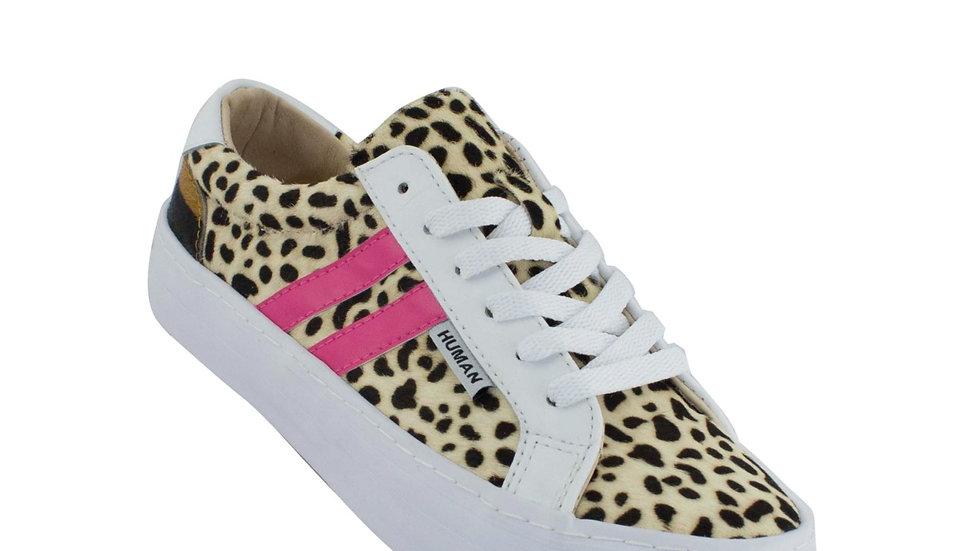 Human Premium Shoes Portland Black/White Leopard Leather Sneakers