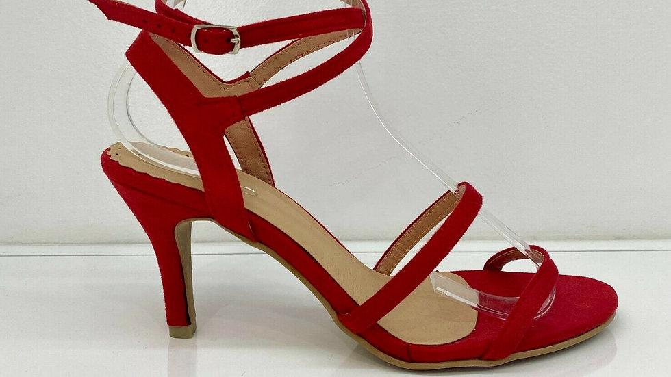 Misano Shoes Yoko Red Suede Strappy Heel