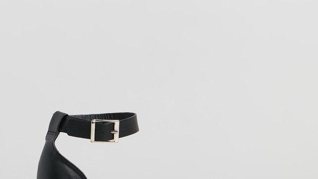 Human Premium Shoes Helene Black leather Espadrille Wedge