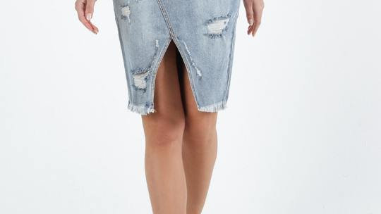 Sass Maxie Indigo Blue Wash Distressed Skirt