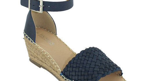 Human Premium Shoes Habit Leather Weave Ankle Strap Wedge