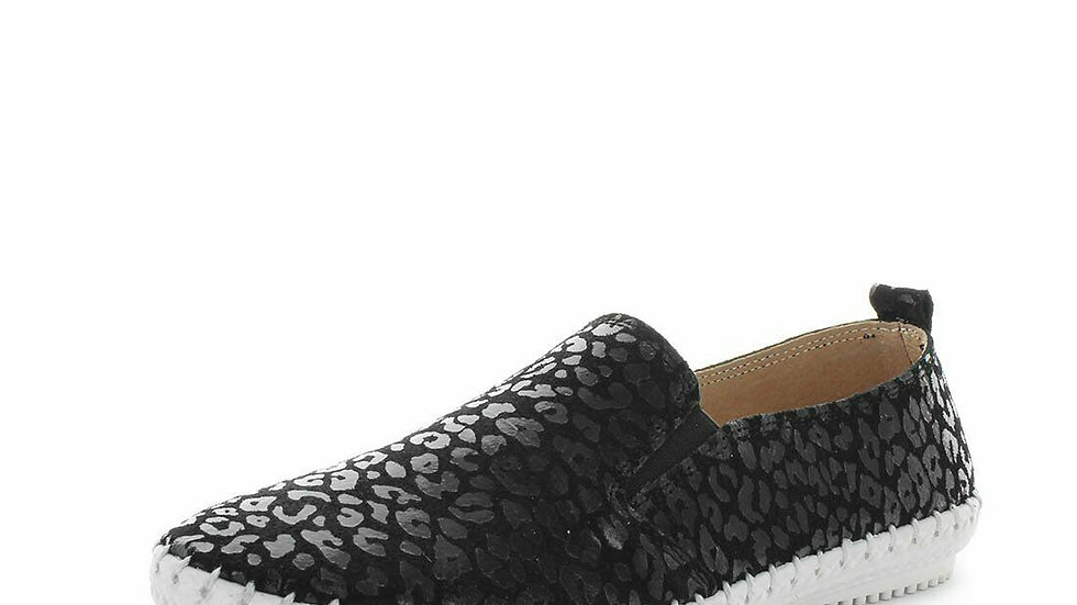 Just Bee Coble Black Leopard Leather Sneaker