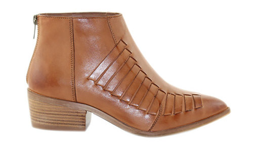 Human Premium Cindy Leather Ankle Boots wood Heel