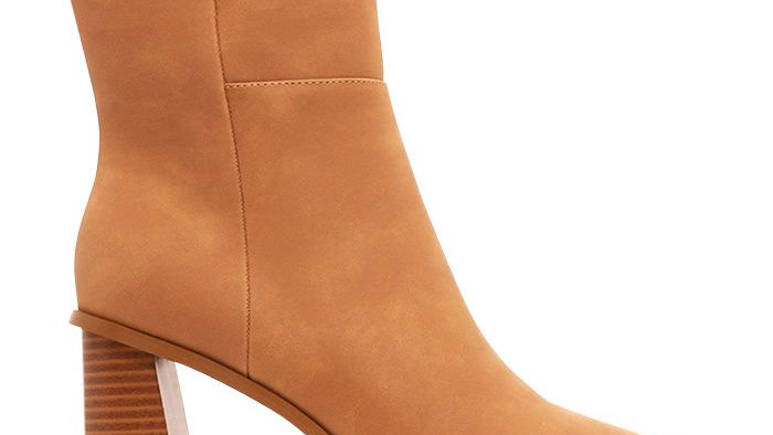 A List Molly Camel Tonal Wood Heel Ankle Boots