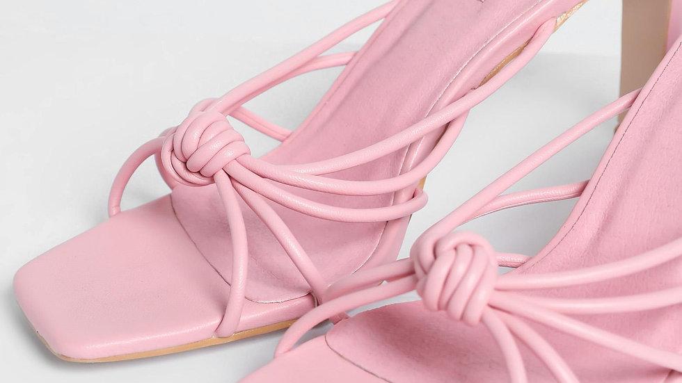 Billini Shoes Posse Watermelon Pink Mule Shave Block Heel