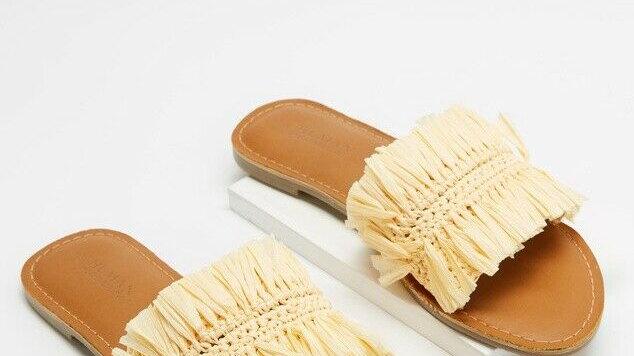Human Shoes Tilden Natural Raffia Slide