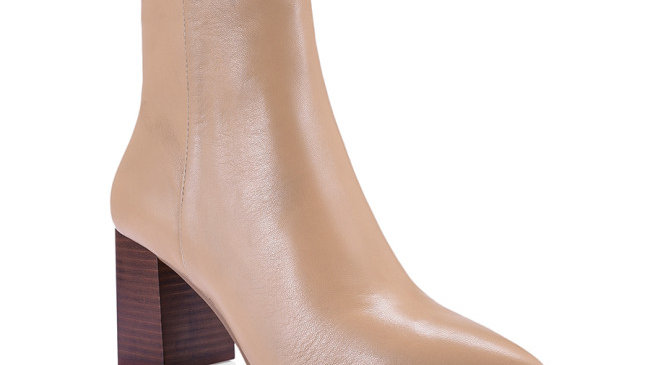 Siren Buck Camel Sheep Nappa Leather Block Wooden Heel Boots