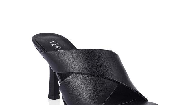 Verali Luwow Black Smooth Heel Mule