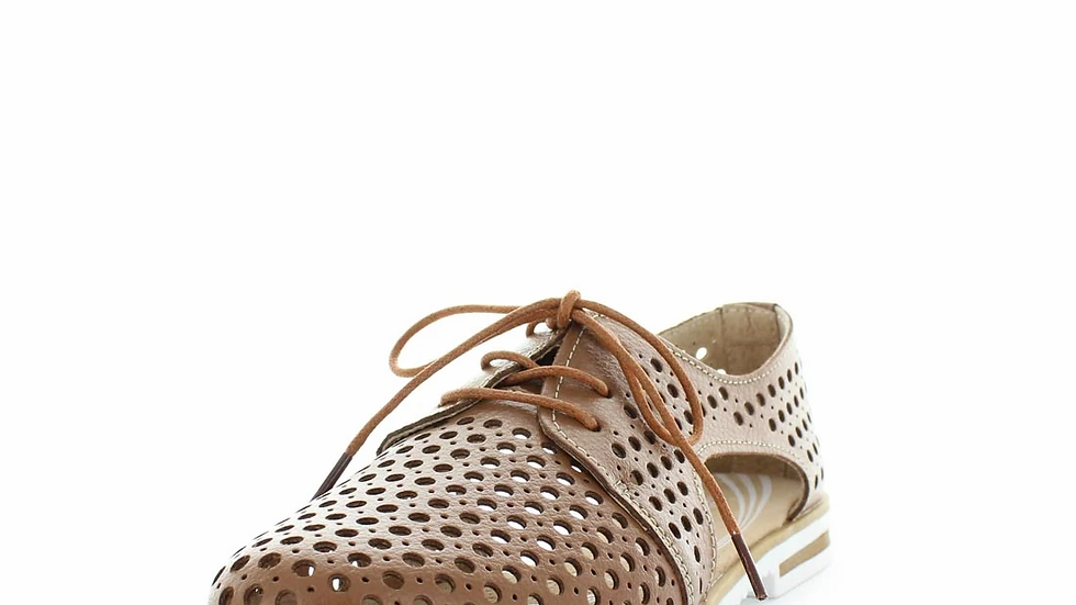 Just Bee Cayenne Tan Leather Laceup Flat