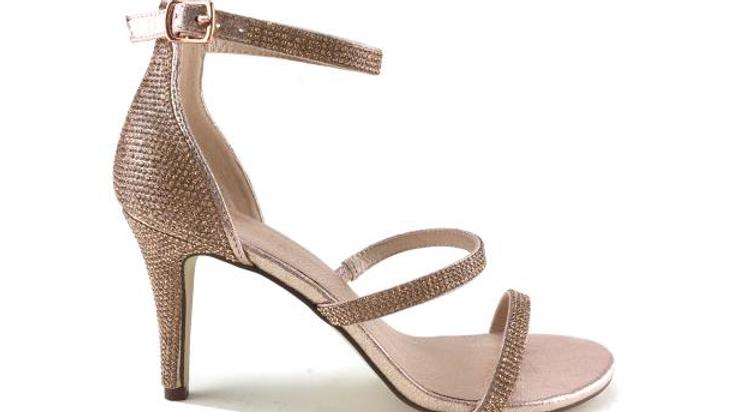 Verali Mandy Rose Gold Glitter Stiletto Heel
