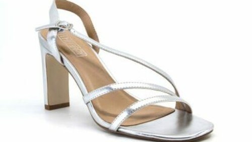 Therapy Shoes Pesaro Silver Strappy Block Heel