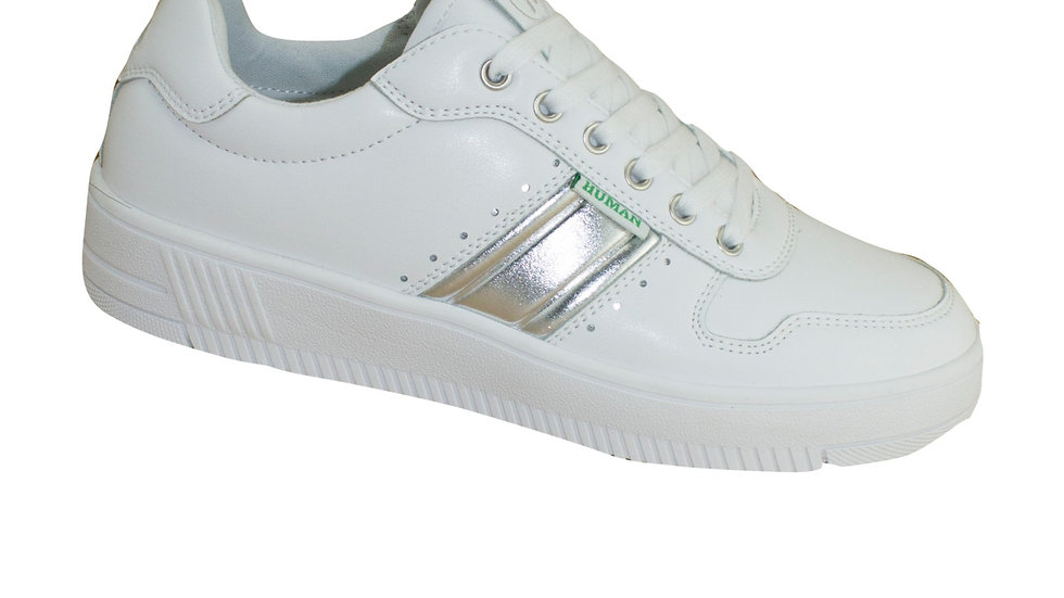 Human Shoes Green Chantal White/Silver Sneakers