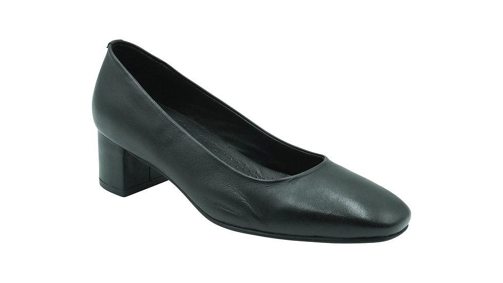 Kaysi (Planet Shoes) Femi Black Leather Court Shoe