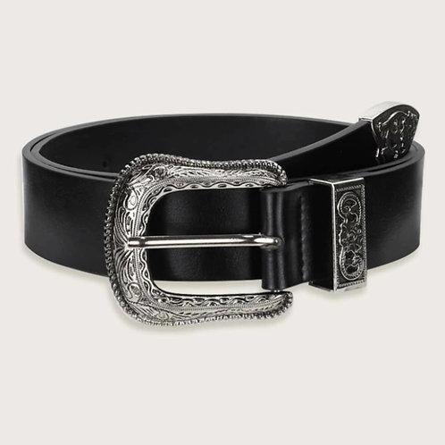 Cinturón con hebilla color negro