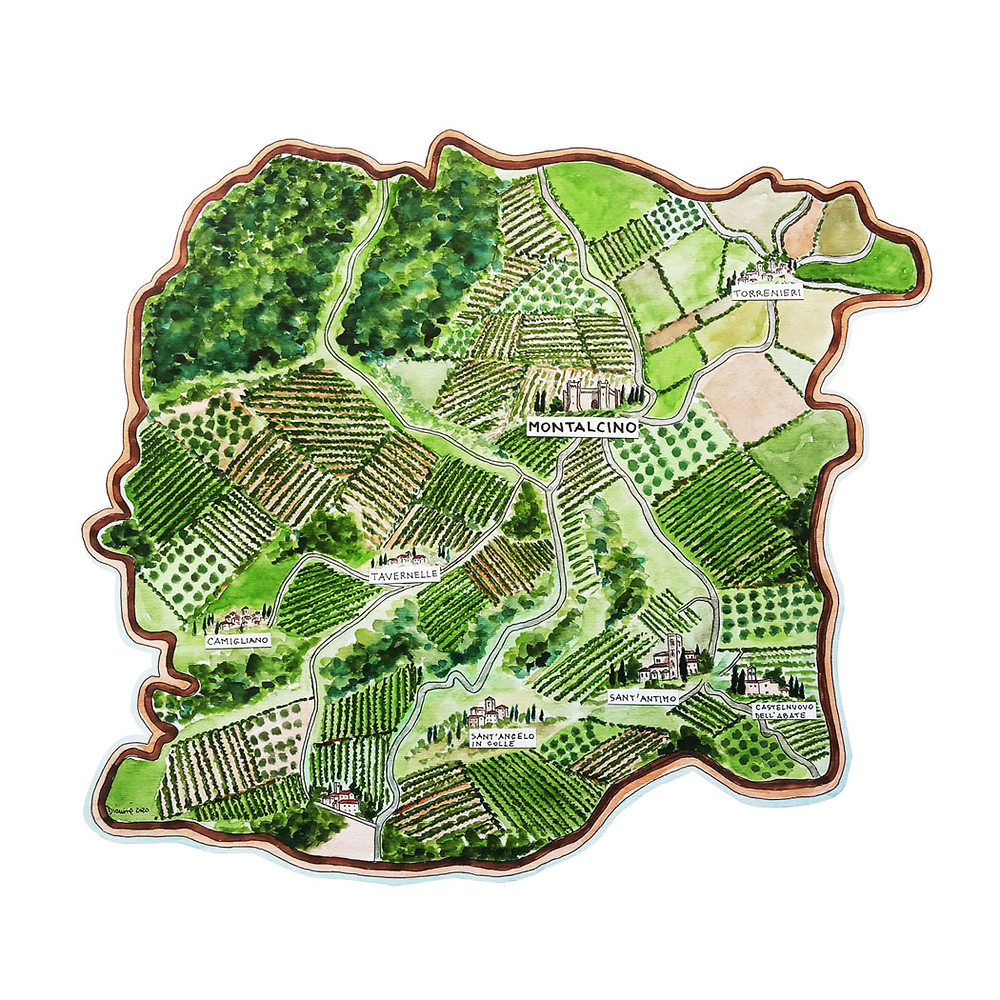 Hand painted map of Montalcino and its terrior