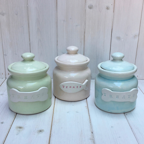 Personalised Handmade Pastel Treat Jar by Purple Glaze Pottery