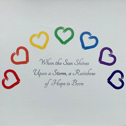 Rainbow of Hearts Canvas Wall Art