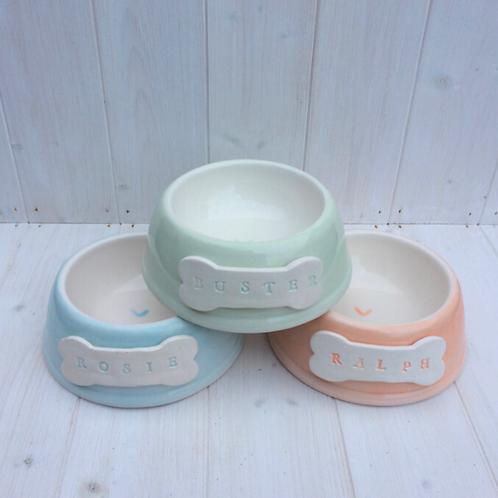 Personalised Handmade Pet Bowls by Purple Glaze Pottery