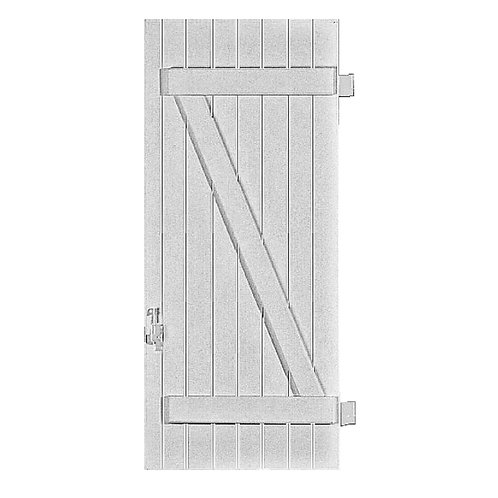 VOLET PVC SIMPLE BARRES ET ÉCHARPE, 1 VANTAIL BATTANT VERSION DROITE