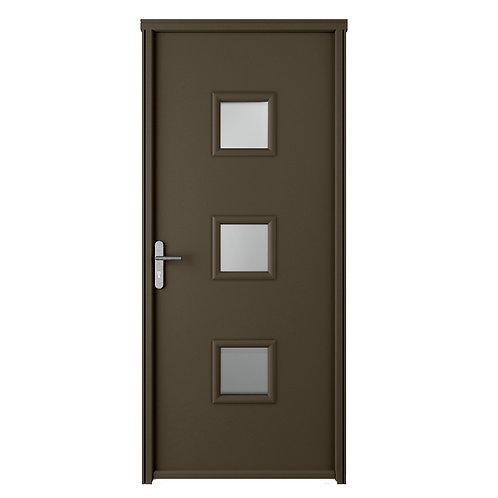 Porte d'entrée Acier blanc vitrée NELIA