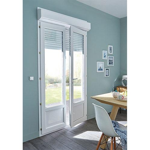 Porte fenêtre PVC avec voletroulant  2v 140 x h.215 cm +18.5cofr