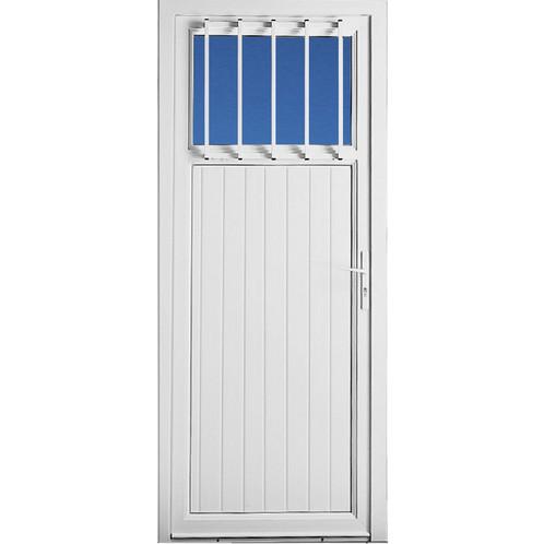 PORTE DE SERVICE GLÉNAN PVC AVEC GRILLE Emenuiserie - Porte de service sur mesure