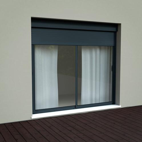 baie coulissante alu volet roulant integr l 240cm xh215 18 5 coffre grise e menuiserie. Black Bedroom Furniture Sets. Home Design Ideas