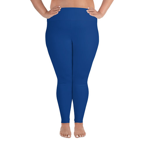 All-Over Print Plus Size Leggings Adam Clark Fitness Back Waist Logo - Blue