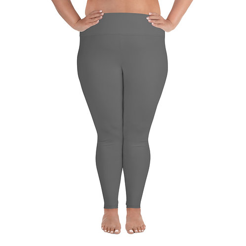 All-Over Print Plus Size Leggings Adam Clark Fitness Back Waist Logo - Grey