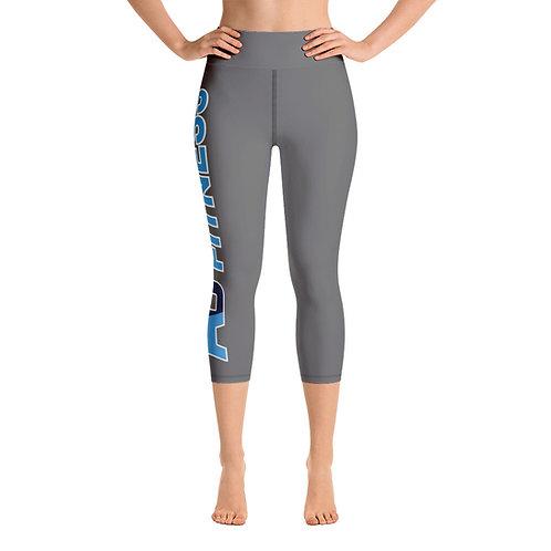 Adam Clark Fitness Side Logo Yoga Capri Leggings - Grey - Black Stitch
