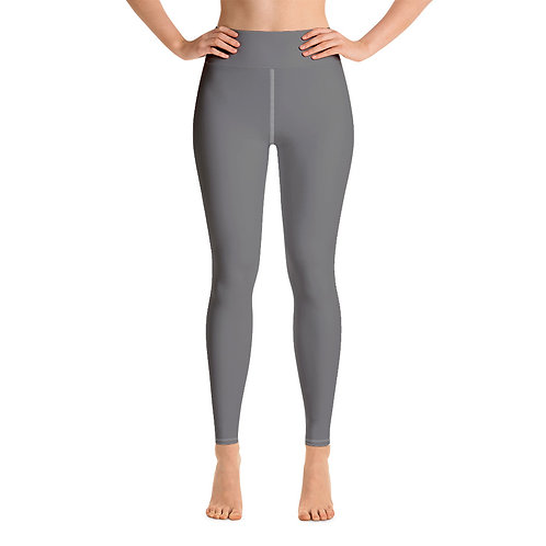 Adam Clark Fitness Yoga Leggings Back Logo - Grey - White Stitch