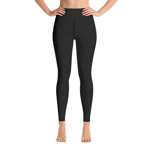 Adam Clark Fitness Yoga Leggings Back Logo - Black - Black Stitch