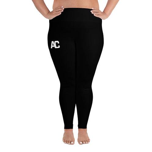 All-Over Print Plus Size Leggings AC Logo - Black - Black Stitch