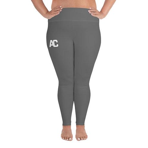 All-Over Print Plus Size Leggings AC Logo - Grey - White Stitch