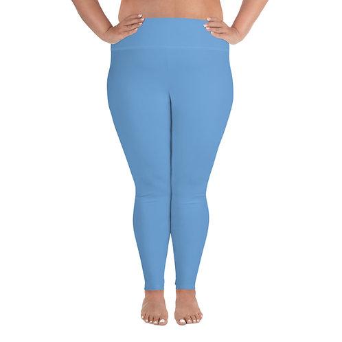 Plus Size Leggings Adam Clark Fitness Back Waist Logo - Lt. Blue - White Stitch