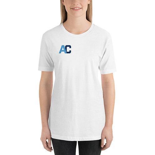 White AC Short-Sleeve Unisex T-Shirt - ACF Logo on Back