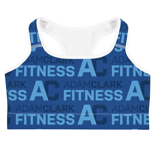 Adam Clark Fitness All Over Logo Sports Bra - Blue
