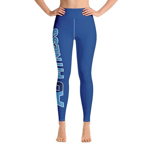 Adam Clark Fitness Yoga Leggings - Side Leg Full Logo - Blue - White Stitch