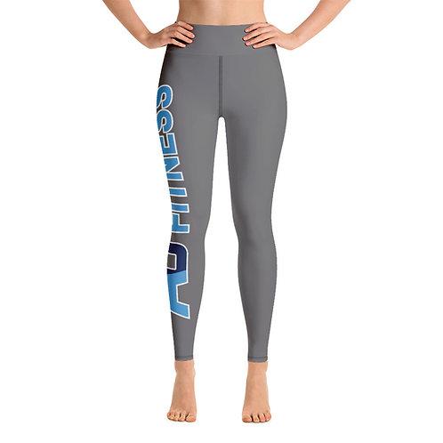 Adam Clark Fitness Yoga Leggings - Side Leg Full Logo - Grey - Black Stitch