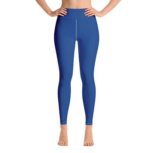 Adam Clark Fitness Yoga Leggings Back Logo - Blue - White Stitch