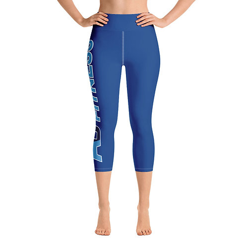 Adam Clark Fitness Side Logo Yoga Capri Leggings - Blue - White Stitch