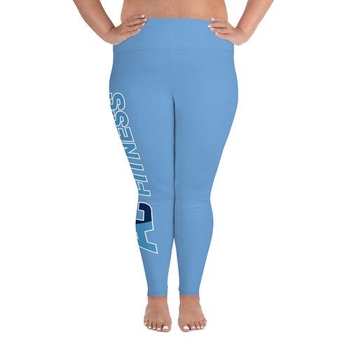 All-Over Print Plus Size Leggings Adam Clark Fitness Side Leg Logo - Lt. Blue