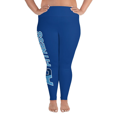 All-Over Print Plus Size Leggings Adam Clark Fitness Side Leg Logo - Blue/Black