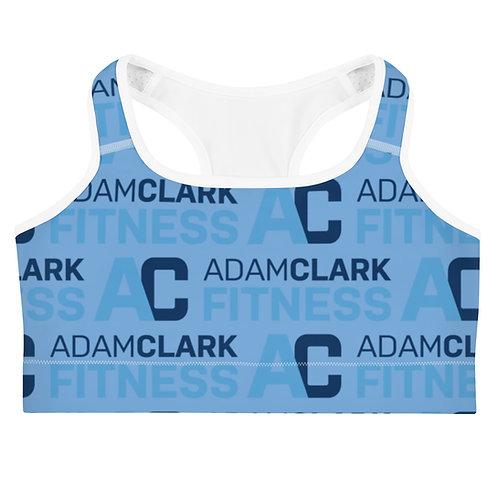 Adam Clark Fitness All Over Logo Sports Bra - Light Blue