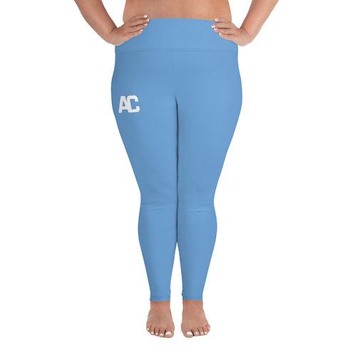 All-Over Print Plus Size Leggings AC Logo - Light Blue - Black Stitch