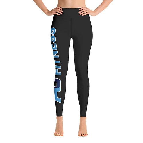 Adam Clark Fitness Yoga Leggings - Side Leg Full Logo - Black - Black Stitch