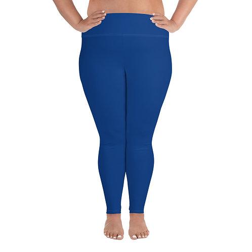 Plus Size Leggings Adam Clark Fitness Back Waist Logo - Blue - White Stitch
