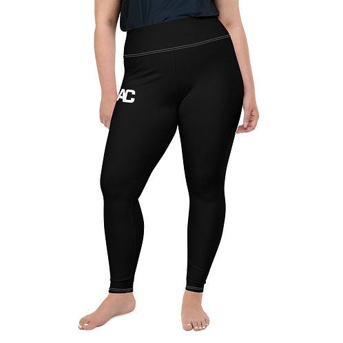All-Over Print Plus Size Leggings AC Logo - Black - White Stitch