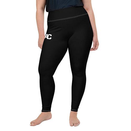 All-Over Print Plus Size Leggings AC Logo - Black - White Stitch