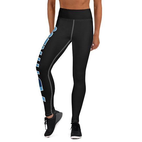 Adam Clark Fitness Yoga Leggings - Side Leg Full Logo - Black - White Stitch